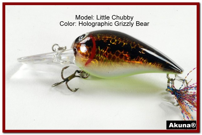"Akuna Little Chubby 3"" Crankbait Fishing Lure in Grizzly Bear [BP 133-88]"