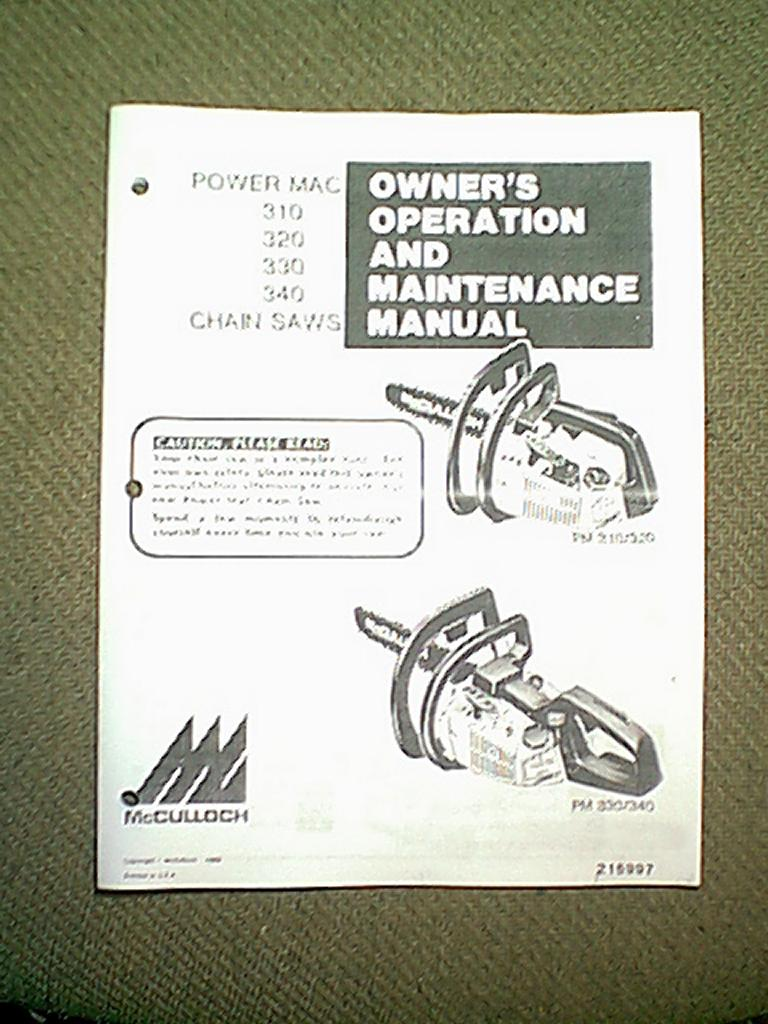McCulloch Power Mac 310 320 330 340 Chain Saw Owner's Manual