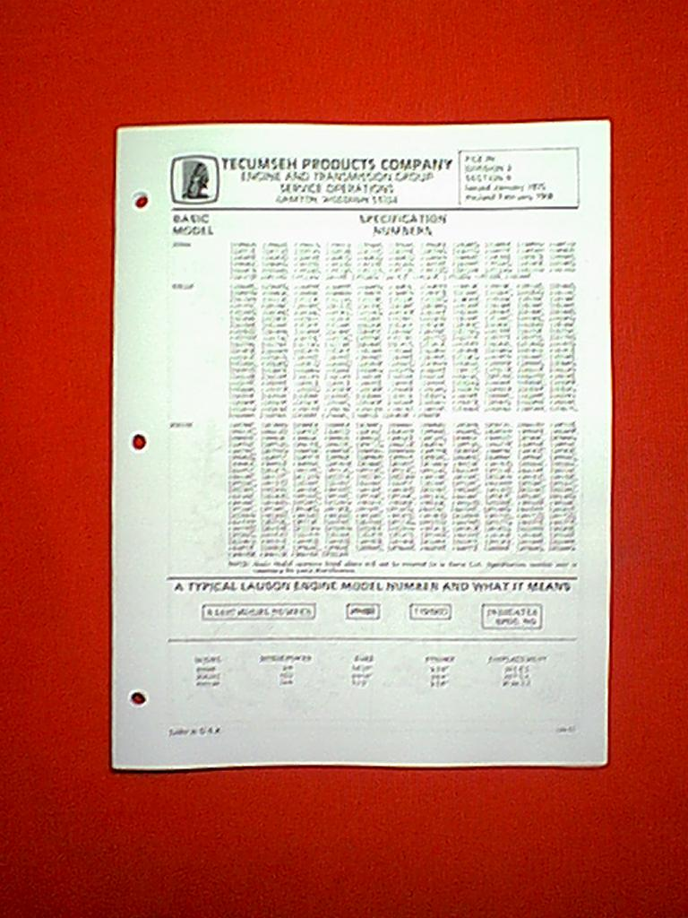 12 HP SPECIFICATION NUMBERS 110000D 120209G ENGINE PARTS MANUAL 1970