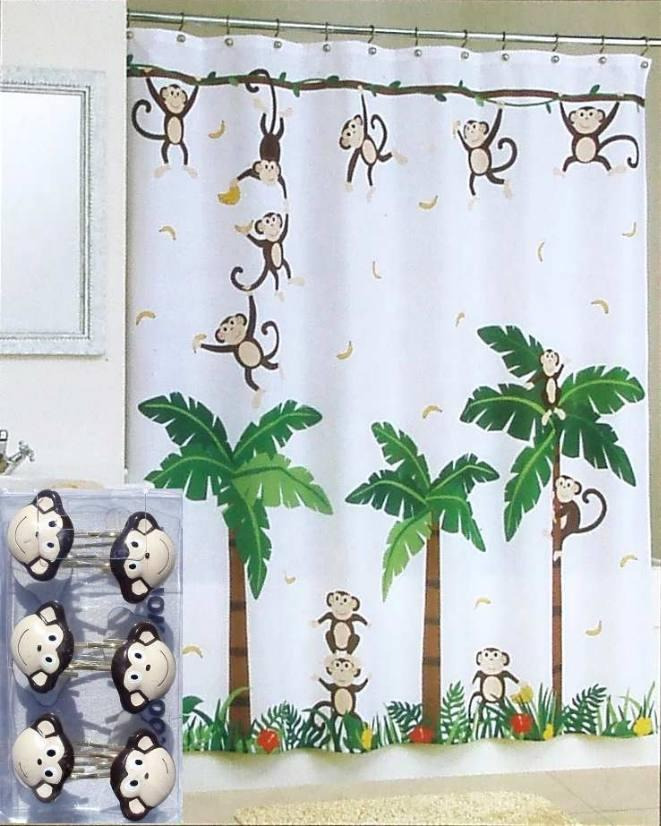 Jungle Bathroom Set: NEW MONKEY TROPICAL JUNGLE FLORAL WHITE SHOWER CURTAIN AND