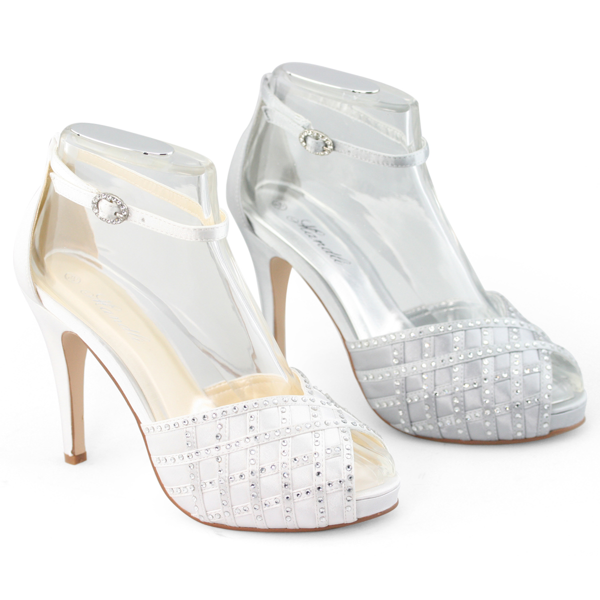 Womens Strappy Silver Shoes