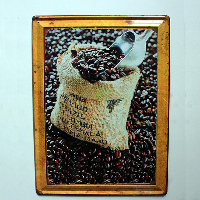Vintage Nostalgic Style Coffee Tin Metal Sign Home Decor