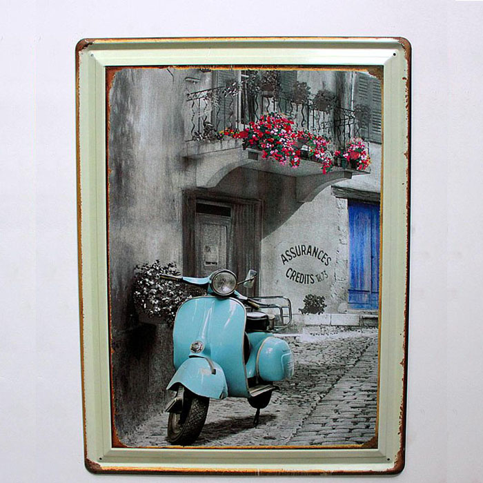 Vintage Nostalgic Style Motorcycle Little Sheep Tin Metal