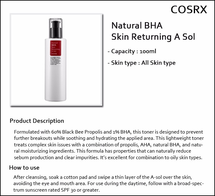 Cosrx Natural Bha Skin Returning A Sol Review