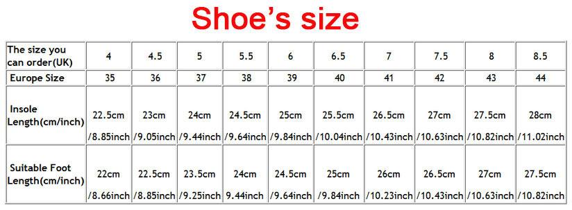 Eu Shoe Sizes To English Sizes
