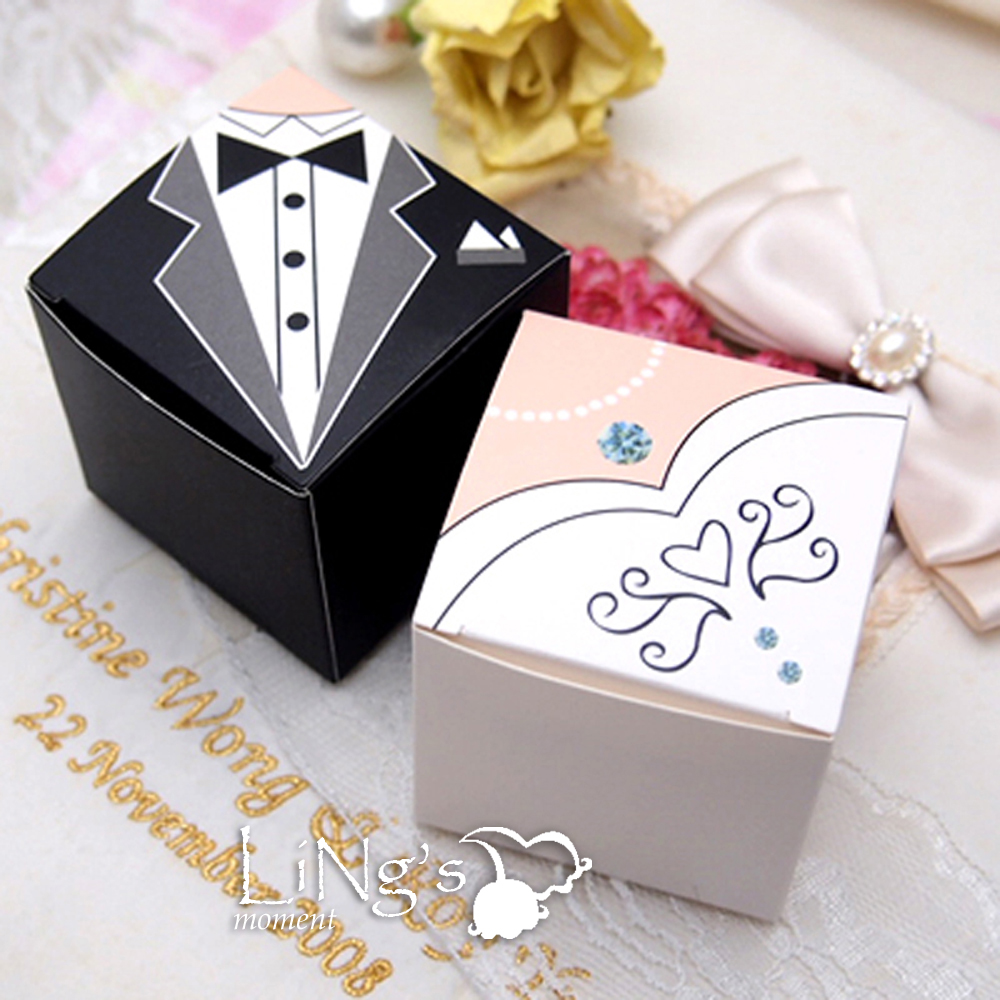 Gift Box Decoration Ideas: Bride & Groom Tuxedo Dress Decoration Wedding Favor Gift