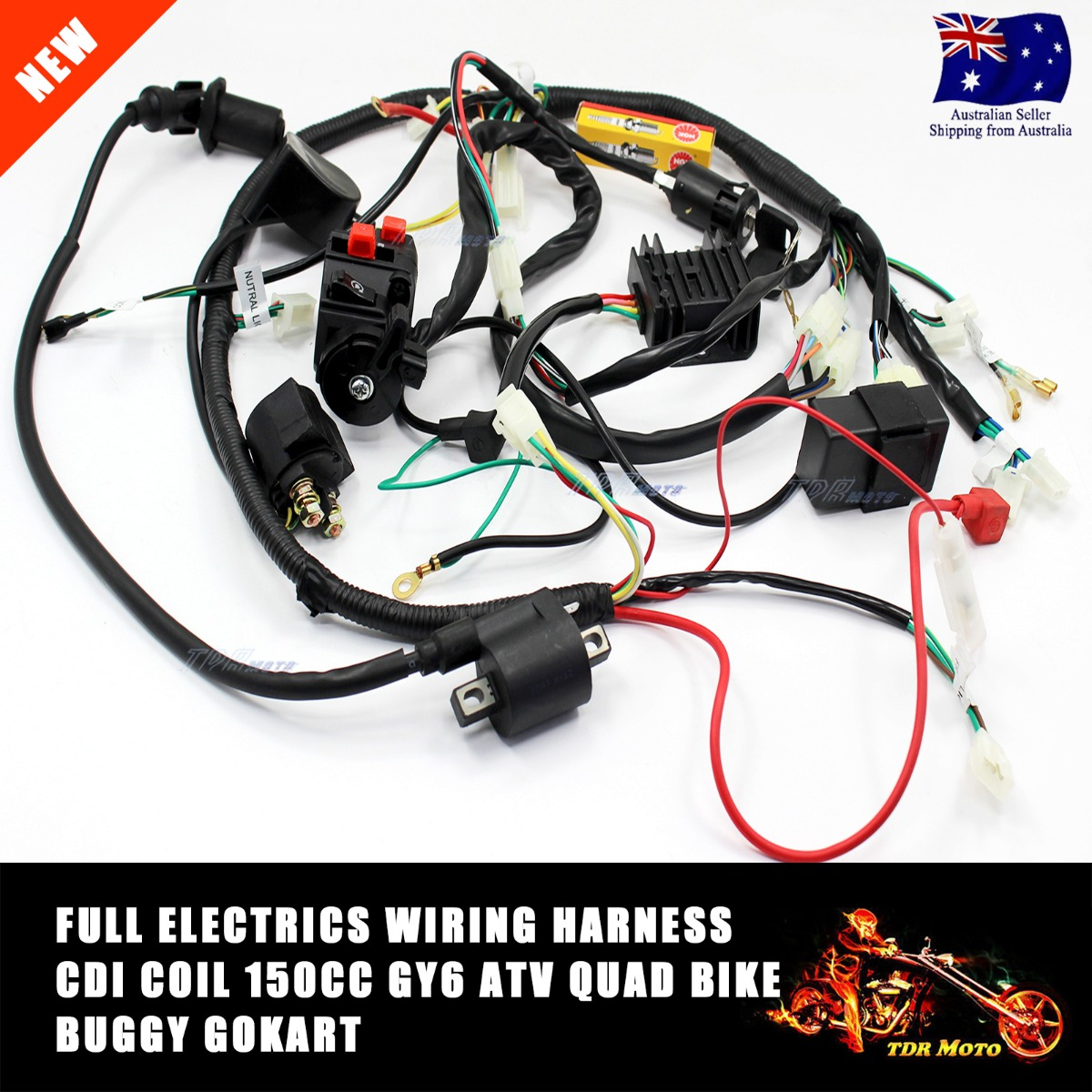 chinese gy6 150cc atv quad wire harness wiring assembly Wiring Harness for Golf Cart TD356 tdr  1