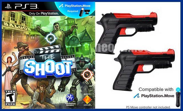 PS3 Move The Shoot BUDNLE + 2x Shooter Guns