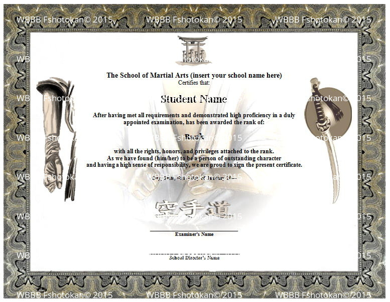 martial art certificate templates free - ready stance martial arts karate rank belt certificate