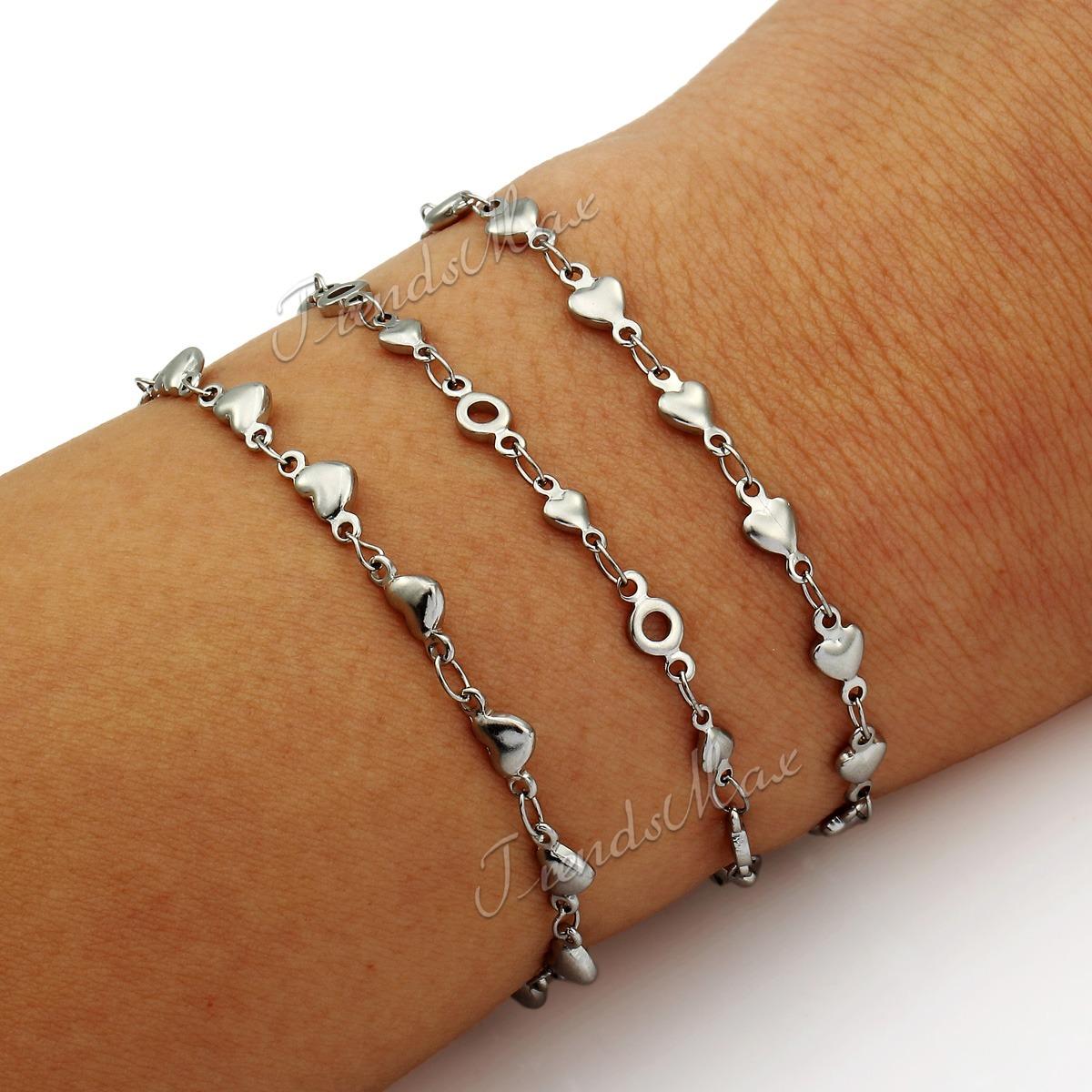 Chain Bracelet Womens: Womens Ladies Girls Chain Stainless Steel Heart Link