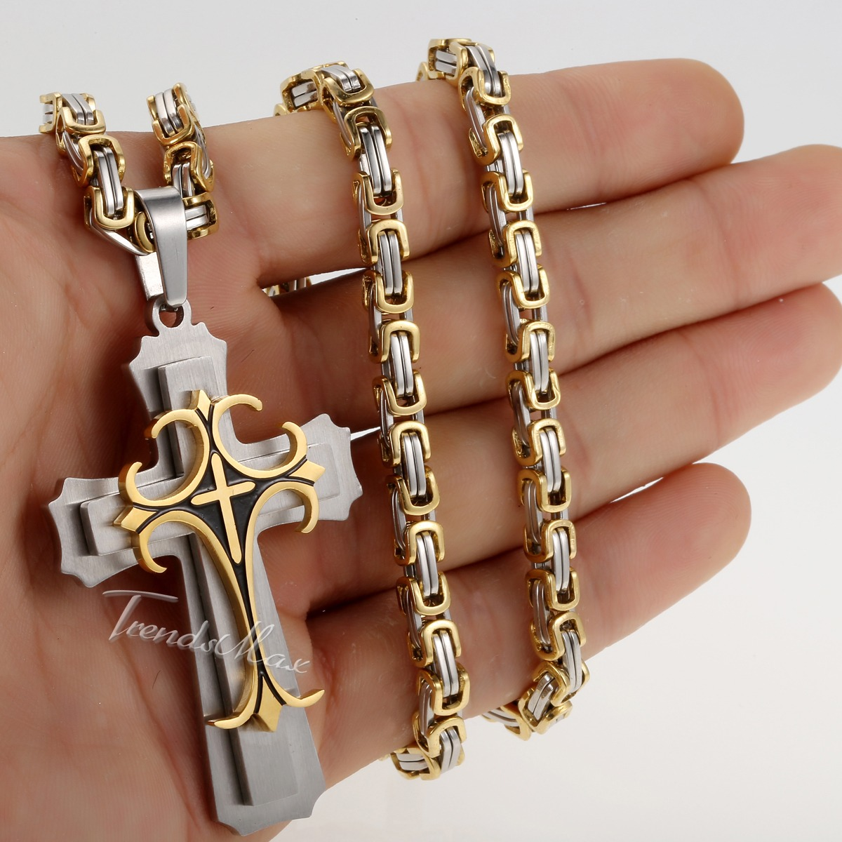 Mens Gold Byzantine Necklace: 5mm Gold Silver Byzantine Box Mens Chain Stainless Steel