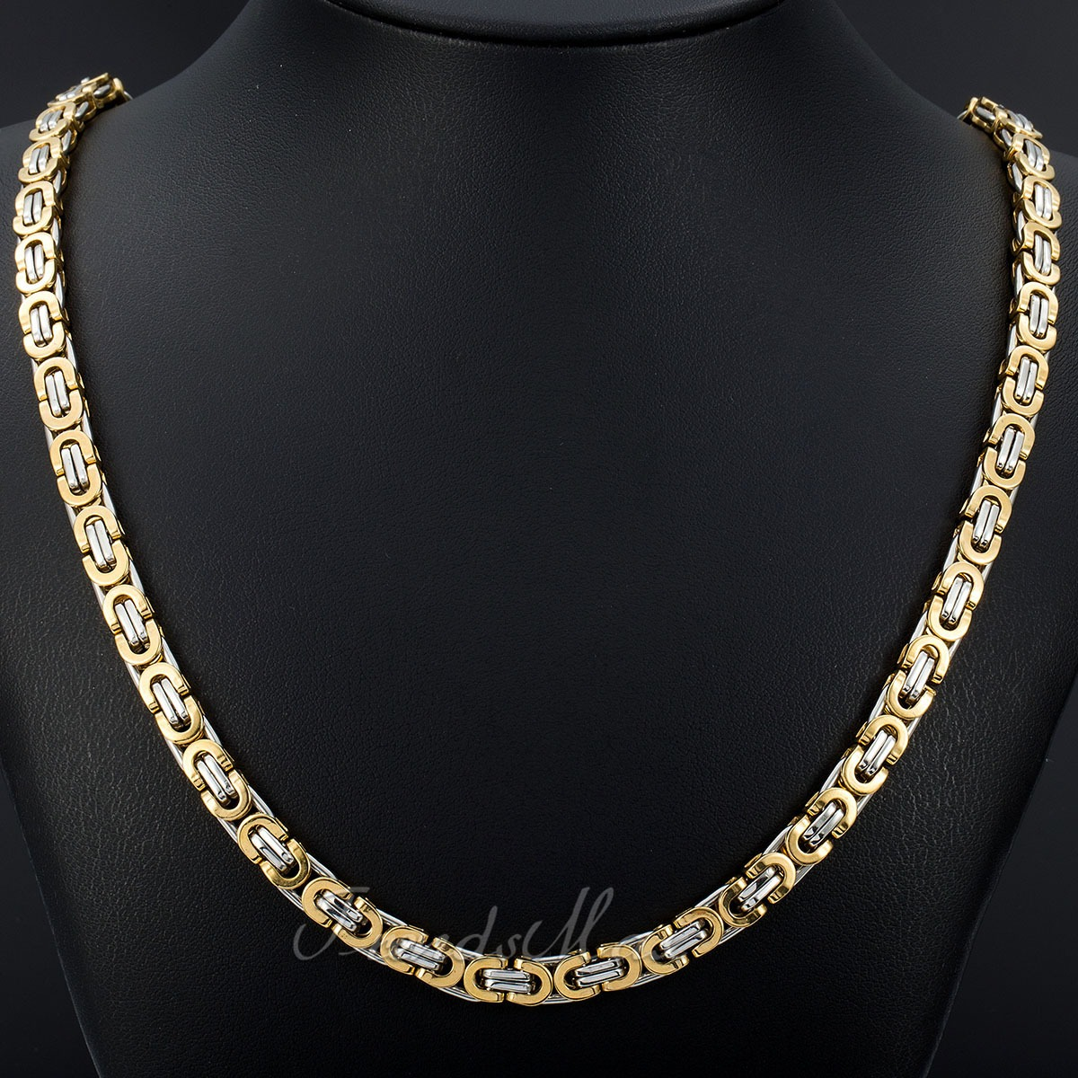 Mens Gold Byzantine Necklace: 6 8 11mm Gold Silver Flat Byzantine Stainless Steel