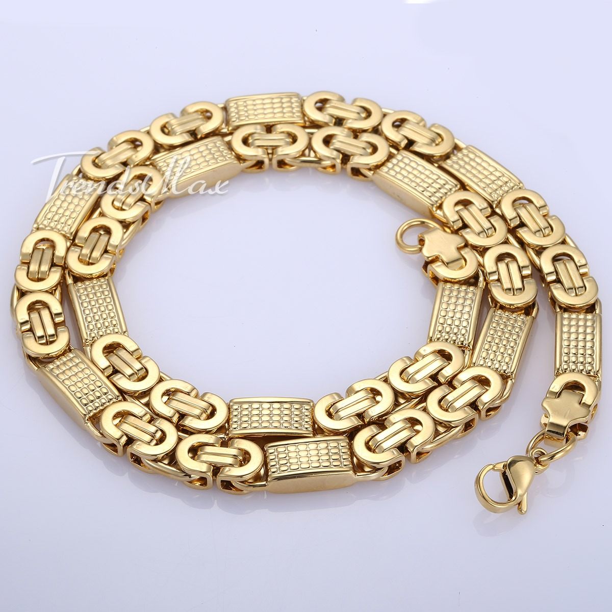 Mens Gold Byzantine Necklace: Mens Chain Silver Gold Tone Flat Byzantine Link Stainless