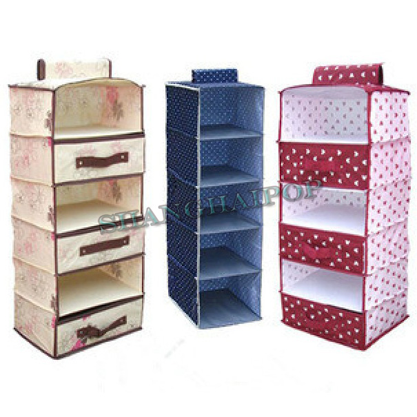 Image is loading Hanging-Storage-Shelf -Wardrobe-Drawer-Organiser-Stackable-Foldable-