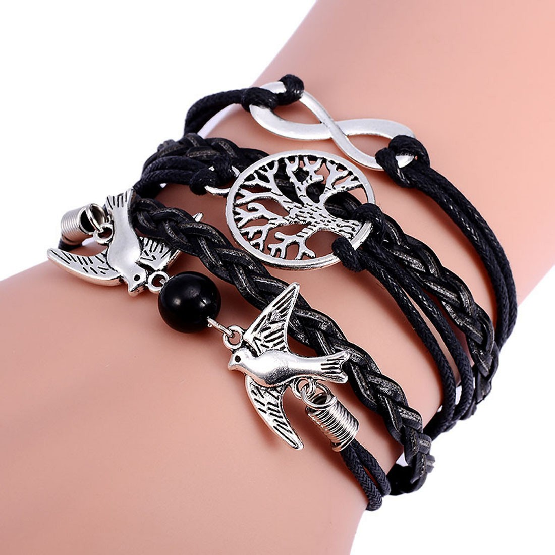 Leather Wrap Charm Bracelet: Lady Leather Woven Charm Bracelet Flying Bird Bangle Wrap